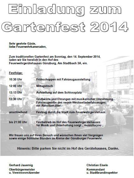 einladung zum gartenfest /// feuerwehr günzburg, Einladung