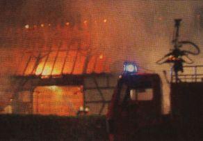 Stall, Stadel und Maschinenhalle eines Bauernhofs in Hochwang standen in der Nacht zum Freitag in Flammen. Ein Blitz hatte offenbar in eines der Gebäude eingeschlagen. Bild: D. Mack